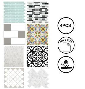 Backsplash Tiles Peel & Stick 4pcs Marble Moroccan Self Adhesive Wall Sticker