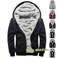 Men Fleece Lined Hooded Fluffy Sherpa Jacket Warm Thick Hoodie Coat Sweatshirt