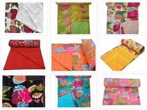 Handmade Fruit Print Kantha Quilt Indian Cotton Coverlet Reversible Bedspread