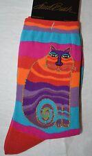 "Laurel Burch Cat Pattern Socks-""RAINBOW CAT"" Multicolor #1035 WAVY STRIPE"