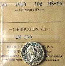 1963 Ten Cents 10¢ ICCS MS-66 - Super GEM - Very Nice Green Tones