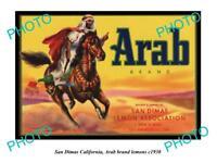 OLD LARGE HISTORIC PHOTO OF SAN DIMAS CALIFORNIA, ARAB BRAND LEMONS POSTER c1930