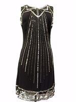 Black Vintage 1920s Flapper Gatsby Downton Abbey Fringe Beaded Dress Size 8-18