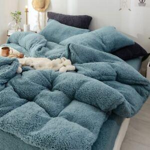 Thicken Lamb Flannel Fleece Bedding Set Velvet Duvet Cover 4Pcs Student Dorm New