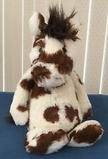 "Jellycat Plush Bashful Horse Plush Pinto Brown White Spots Pony 12"" Toy"