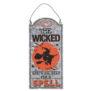 Halloween Primitive Rustic Style Galvanized Metal Wicked Witch Inn Sign