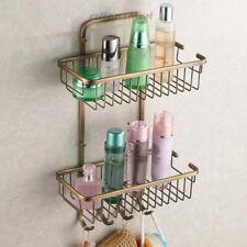 Retro Bathroom Shower Caddy Hanger Basket Toilet 2 Tier Storage Shelf Hook SOLID