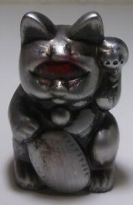 "Real x Head Mini Fortune Cat 2.5"" Silver Metal Red Eye RARE 40"