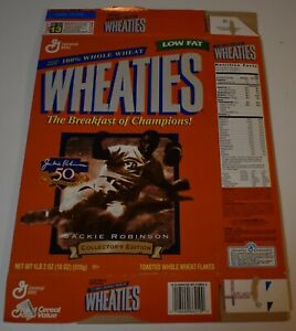 Original 1997 Wheaties JACKIE ROBINSON 50th ANNIVERSARY Cereal Box (Flat)