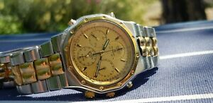 A COLLECTABLE SEIKO ROYAL OAK CASE 7T34 STEEL & GOLD TONE  FLIGHTMASTER WATCH