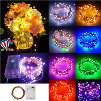 20-100 LED String Battery Operated Copper String Wire Fairy Lights Xmas Party US