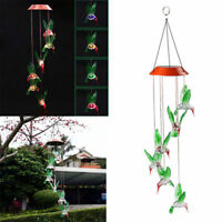LED Solar Color Changing Hummingbird Wind Chimes Home Garden Yard Decor Light