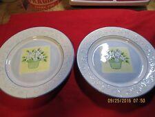 """Mesa International Salad/Dessert Plate 8.5"""" white/blue/green  flower pot"""