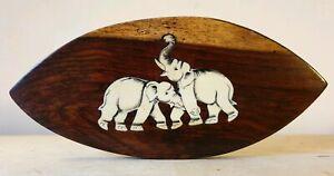 Vintage Ebony Inlaid Bovine Bone Asian Elephant Wall Plaque