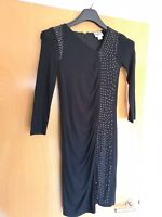 Ladies 1971 REISS Dress Size XS 6 8 Black Wiggle Ruched Stretch Party Evening