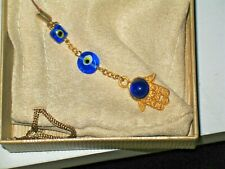 "Hamsa, ""Hand of God"" hanging 5"" amulet with blue eye & 2 glass beads gold plated"