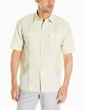 Cubavera Men's Short Sleeve Linen-Blend Shirt 2 Pockets, Pleats NEW - $42 Value