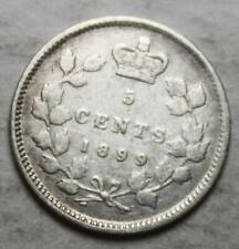 Canada 1899 Silver 5 Cents, Old Date Queen Victoria (45c)