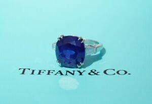 Tiffany & Co. 14.63 carat Blue Sapphire & Diamond Ring, Platinum, Natural
