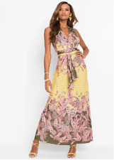 Bodyflirt UK Size 10/12 amarillo marrón Paisley Impreso Maxi vestido nuevo