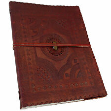 "Real Leather Embossed Journal Sketchbook Scrapbook 13""x10"" with Tigers Eye Stone"