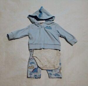 NWT Children's Place Dinosaur Hoodie Bodysuit Pants 3PC Set 0-3 Months Baby Boy