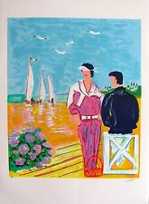 Jean-Claude Picot COUPLE AT DEAUVILLE Hand Signed Limited Edition Art Lithograph