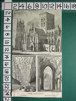 c1840 ANTIQUE PRINT ~ YORK CATHEDRAL ~ SHOWING CHOIR TRANSEPTS EXTERIOR