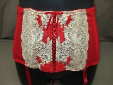 Victoria's Secret VERY SEXY Garter Waist Cincher Red & Beige SEDUCTION Lace XS/S