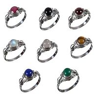 Handmade 925 Solid Sterling Silver Ring Natural Multi Gemstones US Size JR18