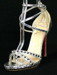 CHRISTIAN LOUBOUTIN $1,495 Silver Python Studded MONOCRONANA Sandals 36