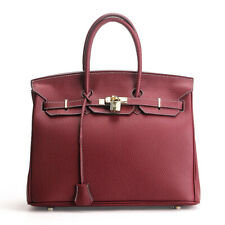 Classic Women's 100% Genuine Leather WINE RED Handbag Crossbody Shoulder Bag
