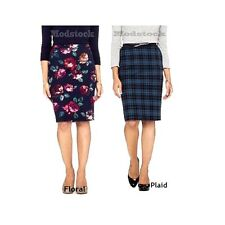 6L3 Choice Merona Navy Floral or Navy Plaid Pencil Straight Skirt NWOT