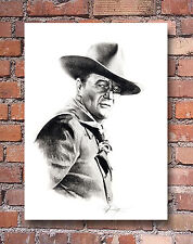 John Wayne Pencil Portrait US Navy Art Print Signed by Artist DJR