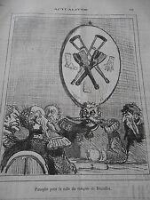 Caricature 1874 Panoplie pour la salle du congrès de Bruxelles Béquilles Jambe