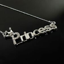Princess Crystal Silver With Crown Clavicle Chain Pendant Necklace Jewelry