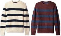 Nautica New Men's Breton Striped Crew-Neck Pullover Sweater, Assorted Colors