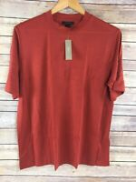 J Crew T Shirt XL Womens Brick Red Mock Neck Lyocell Tee Crewneck NWT