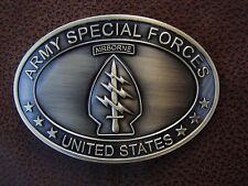 U.S. ARMY SPECIAL FORCES - GREEN BERET WARRIOR BRASS PLATED BELT BUCKLE