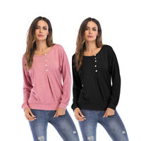 Womens Round Neck Top Loose Tops Long Sleeve Casual Shirt Plus Size T-shirts