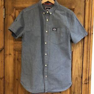 Superdry Mens Blue Denim Shirt Size Medium