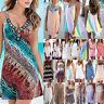 Women Boho Beach Summer Mini Dress Bikini Cover Up Holiday Party Casual Sundress