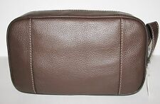 NEW FOSSIL CAMDEN TRAVEL KIT,SHAVE KIT,DARK BROWN LEATHER,STITCHES, COSMETIC BAG