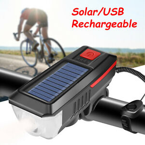 Solar Powered USB Rechargeable LED Bike Bicycle Front Light Headlight Lamp+Horn