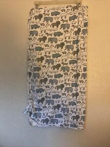 Carters Blue Gray Rhino Lion Dog Turtle Alligator Dog Giraffe Cotton Blanket