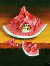 Lee CHRISTOPHERSON Frog/Watermelon Trompe l'oeil Print