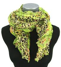 Schal neon gelb grün orange Leopard braun crinkle Damenschal Ella Jonte scarf