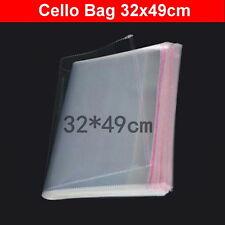 200pcs 32x49cm Large Cellophane Cello Plastic Clothes Craft Bags Self Adhesive