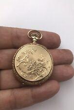 ANTIQUE ELGIN  14K GOLD 0S HUNTER CASE Floral Design MECHANICAL POCKET WATCH