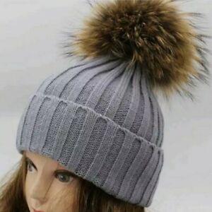 Women Girl Winter Pom Pom Beanie w/Real Raccoon Fur Wool Knitted Cuff Hat   Gra